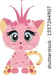 Stock vector cute kitten vector illustration isolated on white background pink cat with a crown in cartoon 1557244907