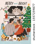 merry and bright postcard... | Shutterstock .eps vector #1557259877