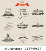 christmas set   labels  emblems ... | Shutterstock .eps vector #155749637