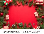christmas flat lay frame made... | Shutterstock . vector #1557498194