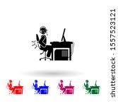 man backache multi color icon....