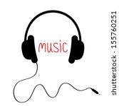 black headphones with cord and... | Shutterstock .eps vector #155760251