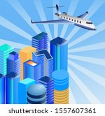 isometric urban buildings and... | Shutterstock .eps vector #1557607361