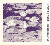 hand drawn lotus flowers and...   Shutterstock .eps vector #1557611024