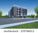 3d render of modern building | Shutterstock . vector #155766011