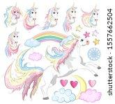 baby girl unicorn scrapbook set.... | Shutterstock .eps vector #1557662504