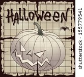 halloween pumpkin over old map... | Shutterstock .eps vector #155779541