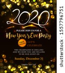 new years 2020 invitation with... | Shutterstock .eps vector #1557796751