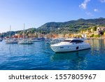 Santa Margherita Ligure, Liguria Italia - watching the coast from the sea. beautiful houses and villas with the typical architecture of the houses just behind the beaches