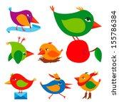 vector set of birds | Shutterstock .eps vector #155786384