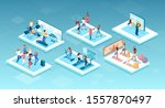 isometric vector of people... | Shutterstock .eps vector #1557870497