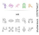 hr line icon set. cv  handshake ... | Shutterstock .eps vector #1557876617