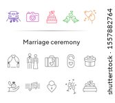 marriage ceremony icons. set of ... | Shutterstock .eps vector #1557882764
