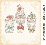 vector card with cakes in... | Shutterstock .eps vector #155796875