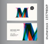 business card template  letter m | Shutterstock .eps vector #155798069