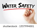 water safety text with marker ... | Shutterstock . vector #1557994001