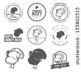 set of premium turkey meat...   Shutterstock .eps vector #155802515