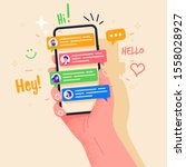 Hand holding phone with short messages, icons and emoticons. Chatting with friends and sending new messages. Colorful speech bubbles boxes on smartphone screen flat design vector illustration.
