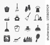 Cleaning icons isolated on white background