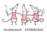 cute cartoon mouse. 2020 happy...   Shutterstock .eps vector #1558081064