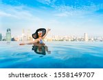 young woman in a roof top...   Shutterstock . vector #1558149707
