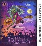 halloween poster with flying...   Shutterstock .eps vector #1558149824