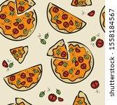 italian food pizza sketch... | Shutterstock .eps vector #1558184567
