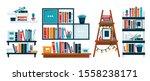 bookshelves for study room or... | Shutterstock .eps vector #1558238171