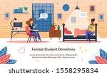 female student dormitory ... | Shutterstock .eps vector #1558295834