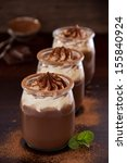 chocolate mousse with cream. | Shutterstock . vector #155840924