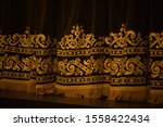 theater curtain lit by... | Shutterstock . vector #1558422434