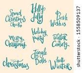set of merry christmas hand...   Shutterstock .eps vector #1558509137