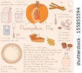 pumpkin pie recipe.... | Shutterstock .eps vector #155855594