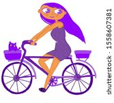 Purple Girl On A Bicycle Rides...