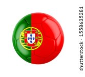 Soccer football ball with flag of Portugal isolated on white. 3D illustration. See whole set for other countries.