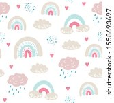 seamless pattern with cloud and ... | Shutterstock .eps vector #1558693697