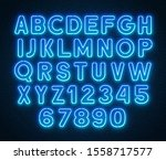neon rounded blue font  glowing ... | Shutterstock .eps vector #1558717577