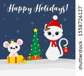 merry christmas and happy new... | Shutterstock .eps vector #1558726127