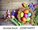 Rustic Easter Background With...