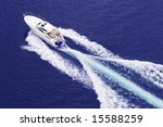 Fast Motor Boat With Splash And ...