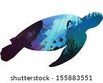 turtle. inside the underwater... | Shutterstock .eps vector #155883551