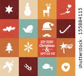 christmas symbols   icons in... | Shutterstock .eps vector #155884115