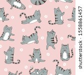 seamless pattern with cute... | Shutterstock .eps vector #1558861457