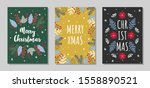 set of christmas greeting cards ... | Shutterstock .eps vector #1558890521