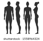 man and woman silhouettes.... | Shutterstock . vector #1558964324