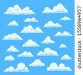 cartoon white clouds. blue sky... | Shutterstock . vector #1558964957