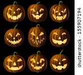 set of jack o lanterns  faces... | Shutterstock .eps vector #155907194
