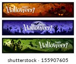 cartoon halloween banners set.... | Shutterstock .eps vector #155907605