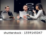 businesspeople discussing... | Shutterstock . vector #1559145347