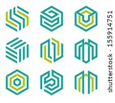 Company vector logo design elements. Set of nine abstract hexagon shaped vector symbols.